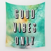 good vibes only Wall Tapestries featuring Good Vibes Only by Crafty Lemon