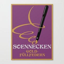 Vintage retro style German Gold Fountain Pen advertising Canvas Print