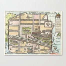 Vintage Map of Jerusalem an Solomon's Temple Canvas Print