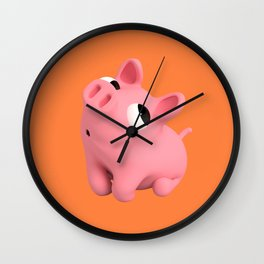 Rosa the Pig Shy Wall Clock