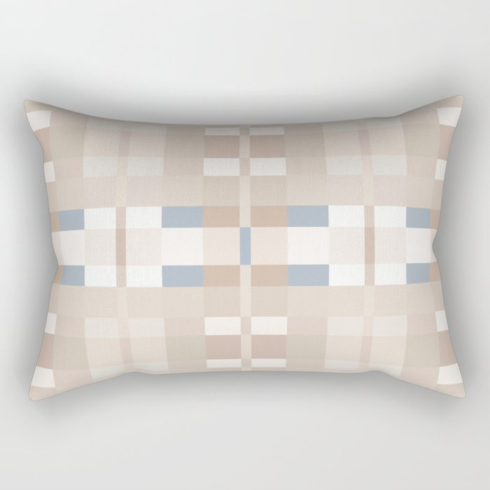 Beige and Blue Color Blocks Geometric Pattern Rectangular Pillow