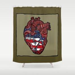 """Flag Heart"" - American Flag, Human Heart - Labor Day - www.davidjdiamant.com Shower Curtain"