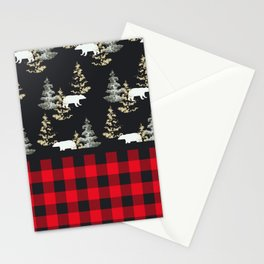 Rustic Plaid with Bear Stationery Cards
