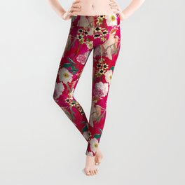 Vintage & Shabby Chic - Tropical Bird Flower Garden Leggings
