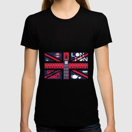 Vintage Union Jack UK Flag with London Decoration T-shirt