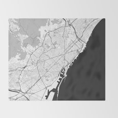 Barcelona Map Gray Throw Blanket