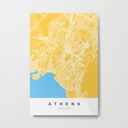 Athens, Greece Map | Yellow & Blue | More Colors, Review My Collections Art Print Metal Print