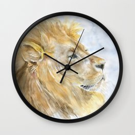 African Lion Watercolor Wall Clock