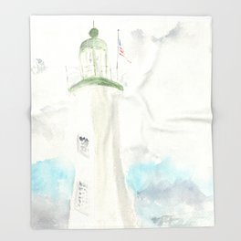 Morning at Scituate Lighthouse Throw Blanket
