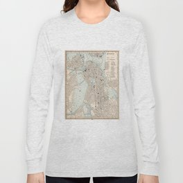 Vintage Map of Boston MA (1893) Long Sleeve T-shirt