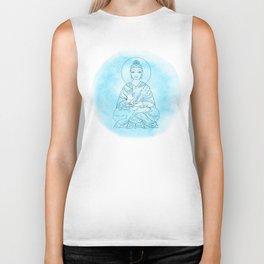 Sitting Buddha over watercolor background Biker Tank