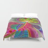 buildings Duvet Covers featuring abstract buildings by haroulita