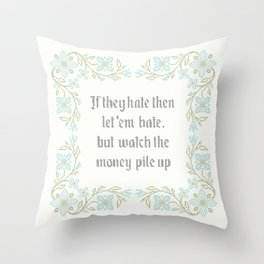 Vintage Inspired Throw Pillow with Rap Lyrics by 50 Cent Throw Pillow