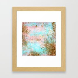 Pink and Gold Mermaid Sea Foam Glitter Framed Art Print