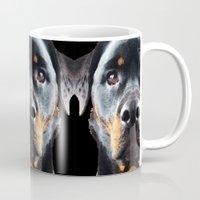 rottweiler Mugs featuring Rottie Love - Rottweiler Art By Sharon Cummings by Sharon Cummings