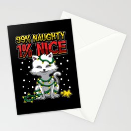 99 Percent Naughty 1 Percent Nice - Cute Cat Stationery Cards