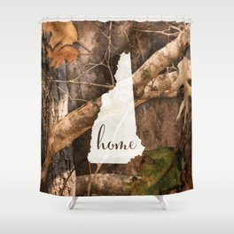 New Hampshire is Home - Camo Shower Curtain