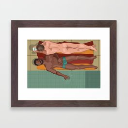 Two men laying by the pool Framed Art Print