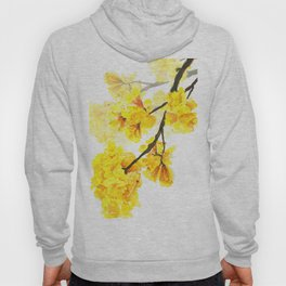 yellow trumpet trees watercolor yellow roble flowers yellow Tabebuia Hoody