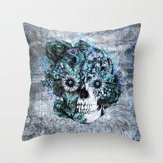 Blue grunge ohm skull Throw Pillow