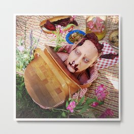 Severed Head in Picnic Basket Metal Print