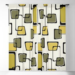 Skewed Squares Midcentury Pattern Chartreuse Blackout Curtain