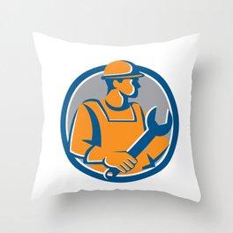Construction Worker Spanner Circle Cartoon Throw Pillow