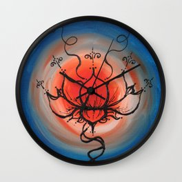 Orange Lotus Wall Clock