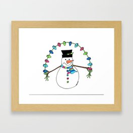 Merry and Bright Snowman Framed Art Print