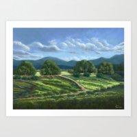 Plain of Winded Wildflowers Art Print
