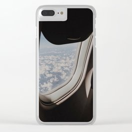 Looking through an Airplane Window at Sky Marshmallows Clear iPhone Case