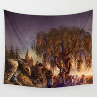 hermione Wall Tapestries featuring Back at Hogwarts by Alea Lefevre