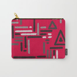 Geometric red gray pattern Carry-All Pouch
