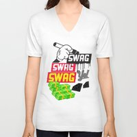 swag V-neck T-shirts featuring SWAG by Mr. Magenta