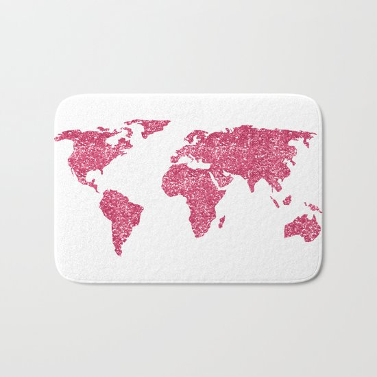 World Map Hot Pink Glitter Sparkles Bath Mat
