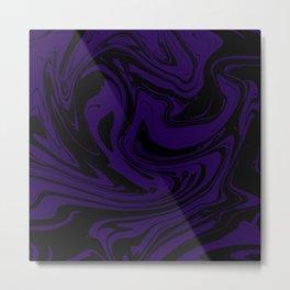 Marbled Texture (deep violet on black) Metal Print