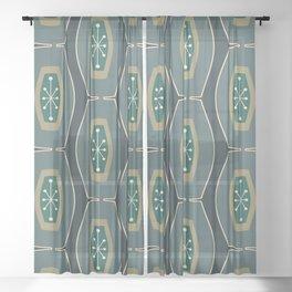 Midcentury Funky Chain Pattern Seaweed Sheer Curtain