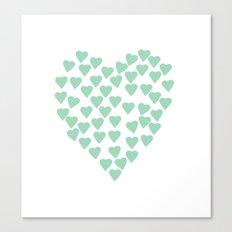 Hearts Heart Mint Canvas Print