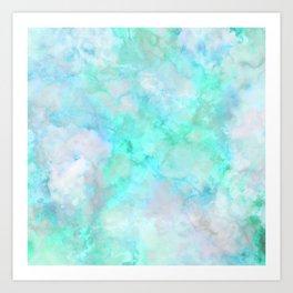 Irridescent Aqua Marble Art Print