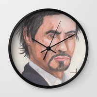 robert downey jr Wall Clocks featuring Robert Downey Jr. by Adrian Casanova