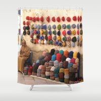 morocco Shower Curtains featuring Crochet, Morocco by Mr and Mrs Quirynen