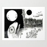 sun and moon Art Prints featuring Moon/Sun by C.M. Duffy