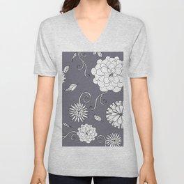 Sweet daisies on pencil gray Unisex V-Neck