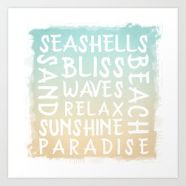 Watercolor Typography with a beach house flair Art Print