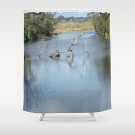 Skeleton Tree In A River Shower Curtain