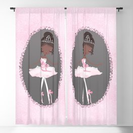 Pink & Grey Brown Ballerina Dancer Blackout Curtain