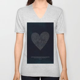 Coded heartprint - dark print Unisex V-Neck