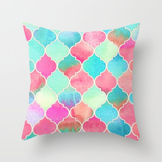 Watercolor Moroccan Patchwork in Magenta, Peach & Aqua Throw Pillow