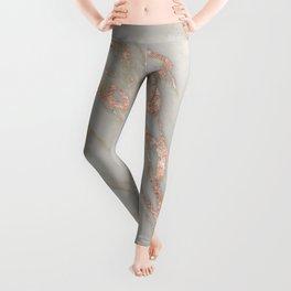 Marble - Rose Gold Marble Metallic Blush Pink Leggings
