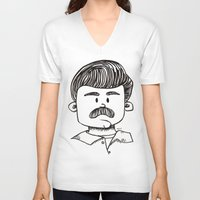 ron swanson V-neck T-shirts featuring Ron Swanson by art by arielle